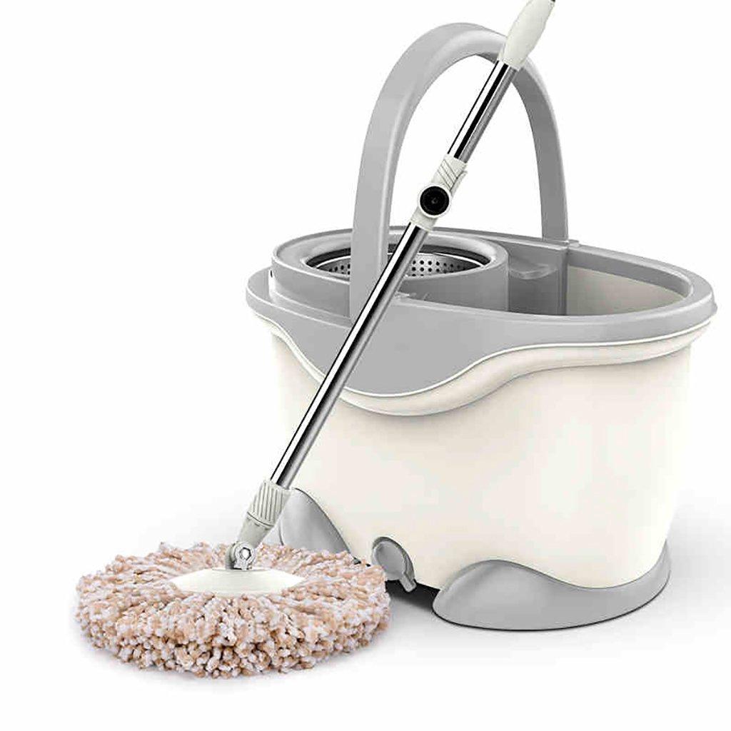 モップ完全洗浄システムモップヘッド+ 360°回転モップバケット時間と労力を節約ロータリーモップ (色 : Milky white) B07FMSC1YZ Milky white