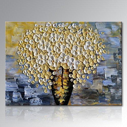 Everfun Art Hand Painted Modern Textured Floral Oil Painting Yellow Flower Canvas Wall Art Abstract Pictures Decorative Artwork Floral Decor Stretched and Framed Ready to Hang (48''W x 36''H) by Everfunart