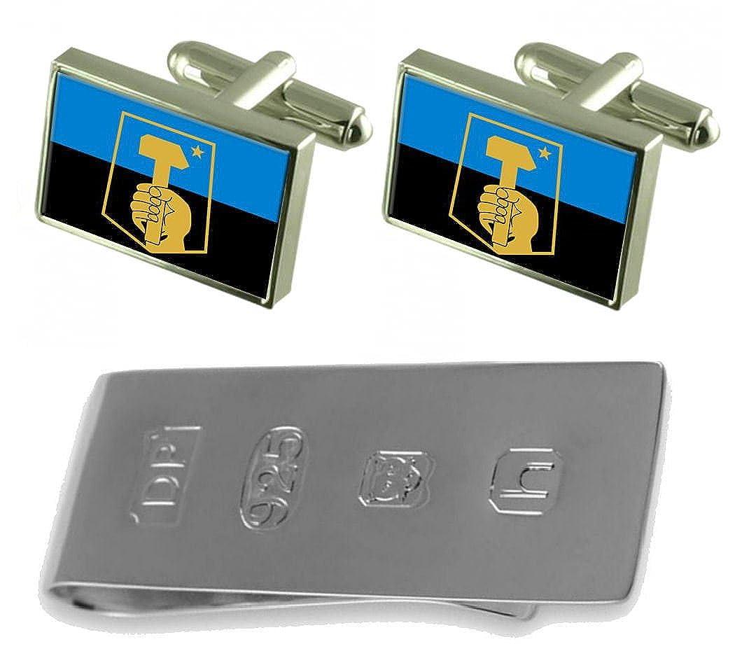 Donetsk City Ukraine Flag Cufflinks & James Bondお金クリップ B077WXVFDK