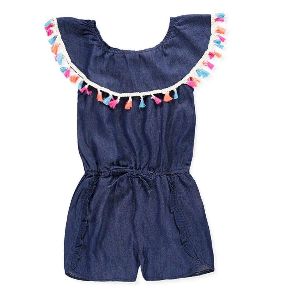 dollhouse Little Girls Navy Denim Tassel Trim Overlay Tie Accented Romper 5-6