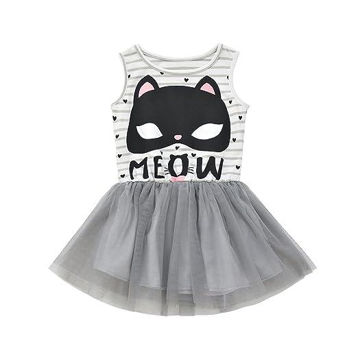 Sleeveless Children Toddler Kids Girls Puppy Cartoon Stripe Summer Casual Dress