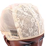 Bella Hair Doule Lace Wig Cap for Making Wigs with Adjustable Straps and Combs Beige Small Size