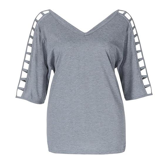 ❤ Camiseta Mujeres Ahueca hacia Fuera,Blusa con Cuello en V Manga Larga de la Moda más el tamaño Tops Casuales Absolute: Amazon.es: Ropa y accesorios