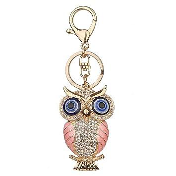 Amazon.com: bcdshop búho lindo llavero Rhinestone anillo de ...