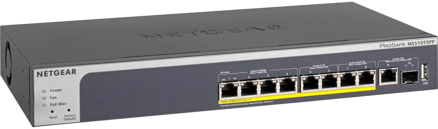 NETGEAR 10-Port Multi-Gigabit/10G Smart Managed Pro PoE Switch (MS510TXPP) - with 8 x PoE+ @ 180W, 1 x 10G SFP+, Desktop/Rackmount, and ProSAFE Limited Lifetime Protection