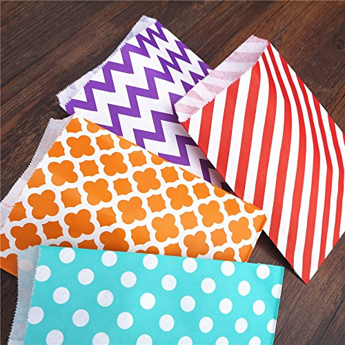 Xiaogongju Paper Bags 13X18 Colorful Chevron Treat Craft Paper Food Safe Bags Party Favors Best Gift Bags for Guests Mint Stripe -