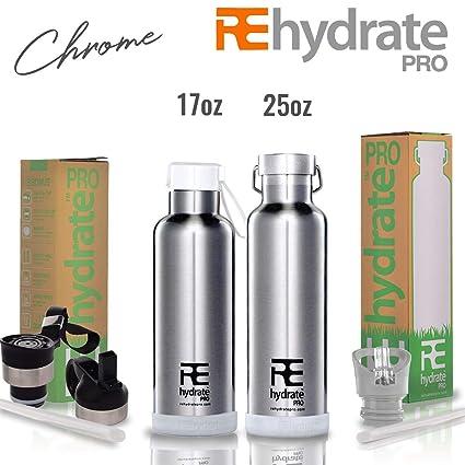 Rehydrate Pro Double-Insulated Botella de vacío de Acero Inoxidable Termo – Compatible a Swell Yeti Hydro y Klean Kanteen – Bidón para Bebidas ...