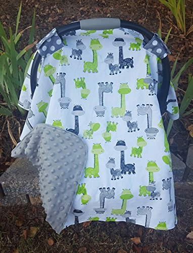 Green and Grey Giraffe Minky Carseat Canopy- Car seat canopy carseat cover baby & Amazon.com: Green and Grey Giraffe Minky Carseat Canopy- Car seat ...
