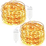 String Lights, Oak Leaf 2 Set of Micro 30 LEDs Super Bright Warm White Color Wire Rope Lights Battery Operated on 9.8 Ft Long Copper Color Ultra Thin String Copper Wire F Home Bedroom Party Tree Picture