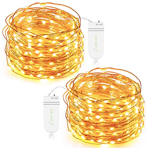 Led String Lights Battery (String Lights,Oak Leaf 2-Set 9.8 Ft 30 LEDs Starry Fairy Lights Battery Operated String Lights Waterproof Decorative Lights for Bedroom, Patio, Garden, Yard, Parties, Wedding,Warm White)