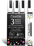 White Chalk Markers - Pack of 3 chalk pens. Used on Chalkboard, Windows, Blackboard, Labels & Cafe. Water based wet wipe erasable pen - 4.5 mm Bullet Tip.