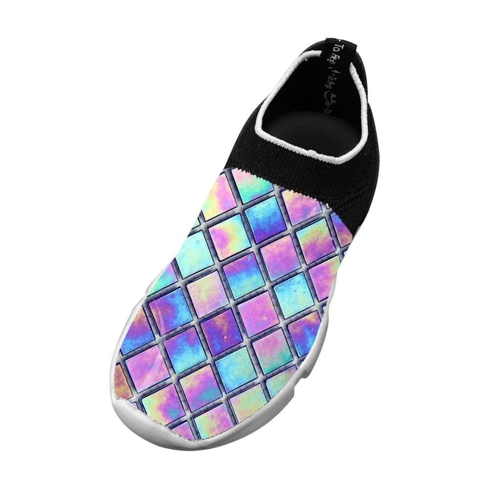 Sports Flywire Weaving Gym Shoes For Unisex Kids,Print Dazzle Plaid