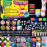 HSETIY Unicorn DIY Slime kit Supplies-6 Cloud Slime,6 Clear Slime,3 Jelly Cube,5 Unicorn,55 Glitter,4 Magic Clay with DIY Slime Tool and Slime Box