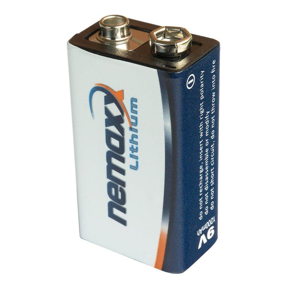 ideale per rilevatore di fumo 02LI9V batteria a blocco Nemaxx litio 9/V 10/anni di durata