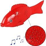 Meiqils Giocattolo Elettronico Mini Robot Pesce per i Bambini Illuminazione + Canto (Colore casuale) (red)