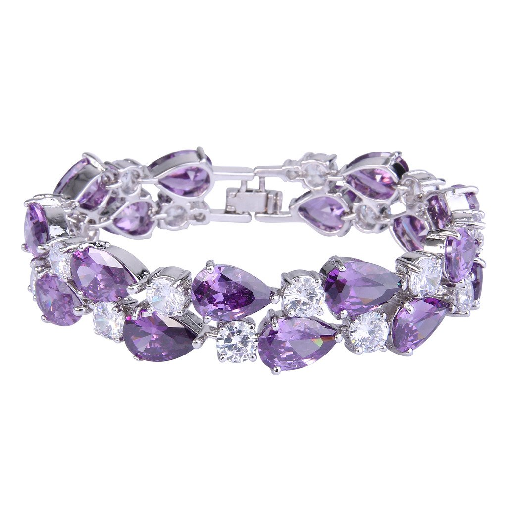 EVER FAITH Women's Prong Cubic Zirconia Vintage Style Dual Layer Tear Drop Bracelet Purple Silver-Tone