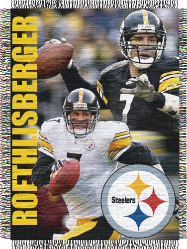 Ben Roethlisberger - Steelers OFFICIAL National Football League, Players 48 x 60 Woven Tapestry Throw (Roethlisberger Blanket Ben)