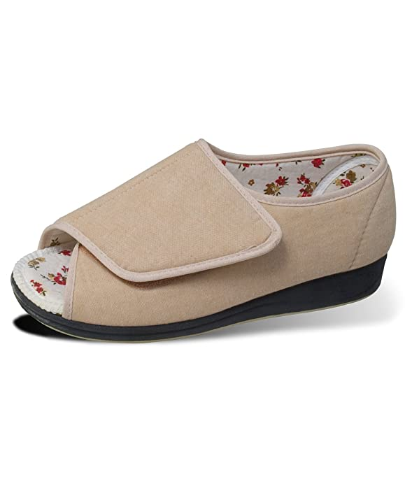 Womens Open Toed Sandal Shoes With VELCRO Brand Fasteners - Wide Width - Beige 8