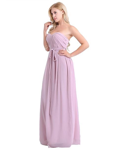 c07531f1f dPois Vestido Largo sin Tirantes Vintage Elegante Vestido Fiesta Ceremonia  Maxi Cóctel Boda para Mujer Traje de Dama de Honor Vestido de Noche Hombros  ...