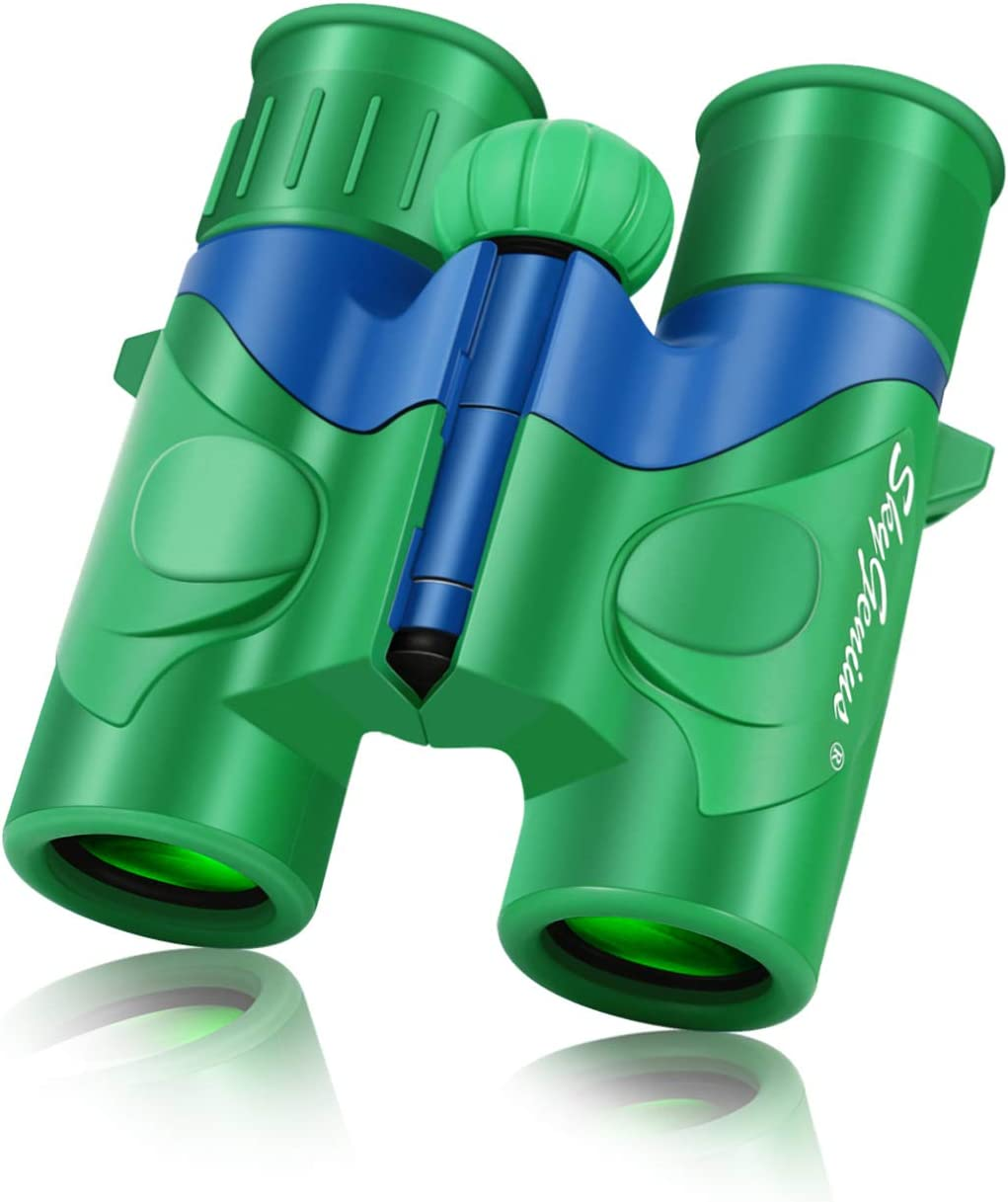 SkyGenius Binoculars for Kids, Mini Binoculars Boys for Bird Watching, Real Optics High Resolution Small Binoculars for Travel Exploring Nature Hiking, for 3-12 Years Old - Green