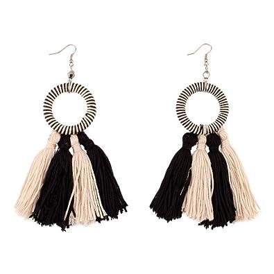 SODIAL(R) Fashion Tassel Dangle Earrings Drop Earrings For Women Black RVKhWnUx