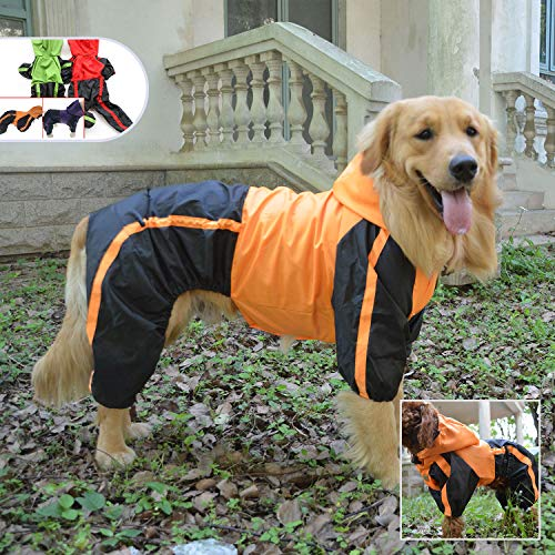 Lovelonglong Dog Hooded Raincoat, Large Dog Rain Jacket Poncho Waterproof Clothes with Hood Breathable 4 Feet Four Legs Rain Coats for Small Medium Large Pet Dogs Orange L-S