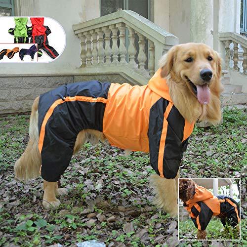 (Lovelonglong Dog Hooded Raincoat, Large Dog Rain Jacket Poncho Waterproof Clothes with Hood Breathable 4 Feet Four Legs Rain Coats for Small Medium Large Pet Dogs Orange L-S)