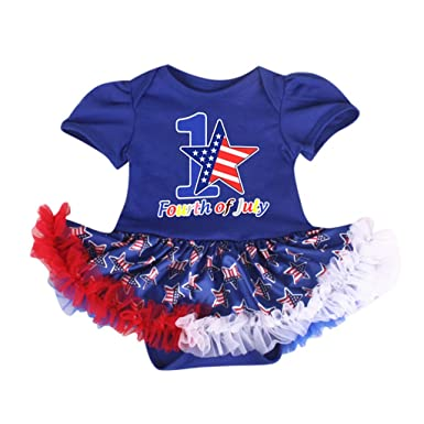 44463fb9c Baby Kids Girl Casual Outfits American Flag Printed Short Sleeve Romper  Tulle Dress for 4th of