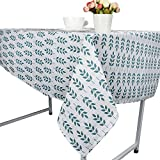 Ouniman 9090cm Green Leaf Printed Linen Cotton Tablecovers Machine Washable, Everyday Kitchen Tablecloth for Dinner Parties, Summer & Outdoor Picnics