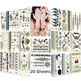 Lady Up Premium Metallic Tattoos - Over 150+ Manlada Mehndi Boho Design Waterproof Henna Flash Body Art Stickers Shimmer Fake Tattoo for Kids, Teens, Women & Men 148x210mm