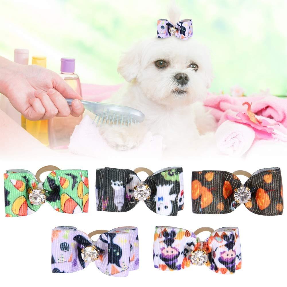 20PCS Mascotas Lazos para el Cabello de Perros Bandas de Goma Arcos para Perros de Halloween Lazos de Perro de poli/éster Bowknot Lazos de mo/ño de Perro Lazos de mo/ño
