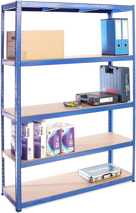 G-Rack 23 Sistema de estanterías, Acero Inoxidable con Recubrimiento de Polvo Azul, 180 x 120 x 40 cm