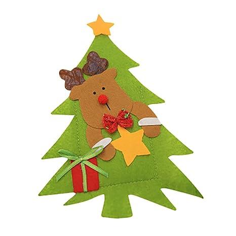 Damark Decoracion Navidad Papa Noel Renos Muñeco de Nieve Adornos Navideños, Cubiertos Tenedores Bolsa decoración