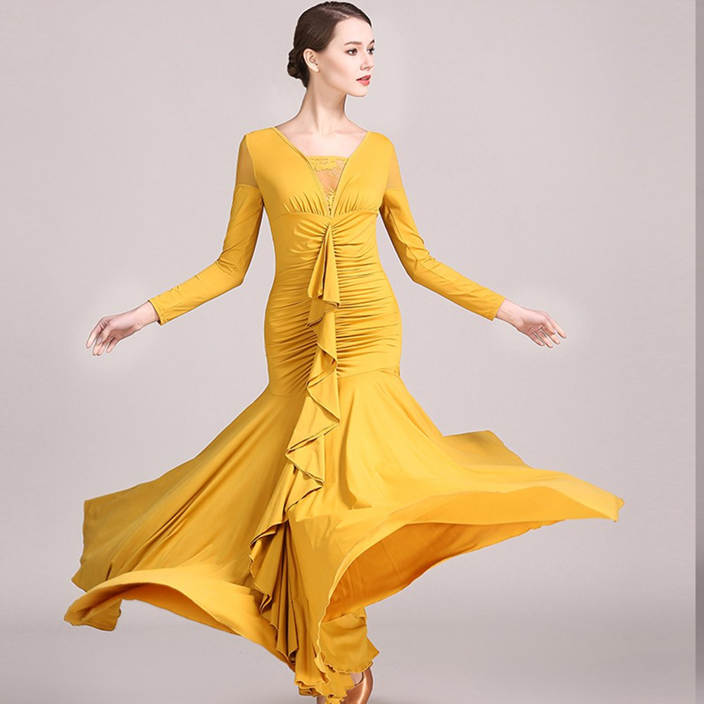 現代の女性大きな振り子ファッションレースモダンダンスドレスタンゴとワルツダンスドレスダンスコンペティションスカート氷フィラメント長袖ドレスダンスコスチューム 黄 Large