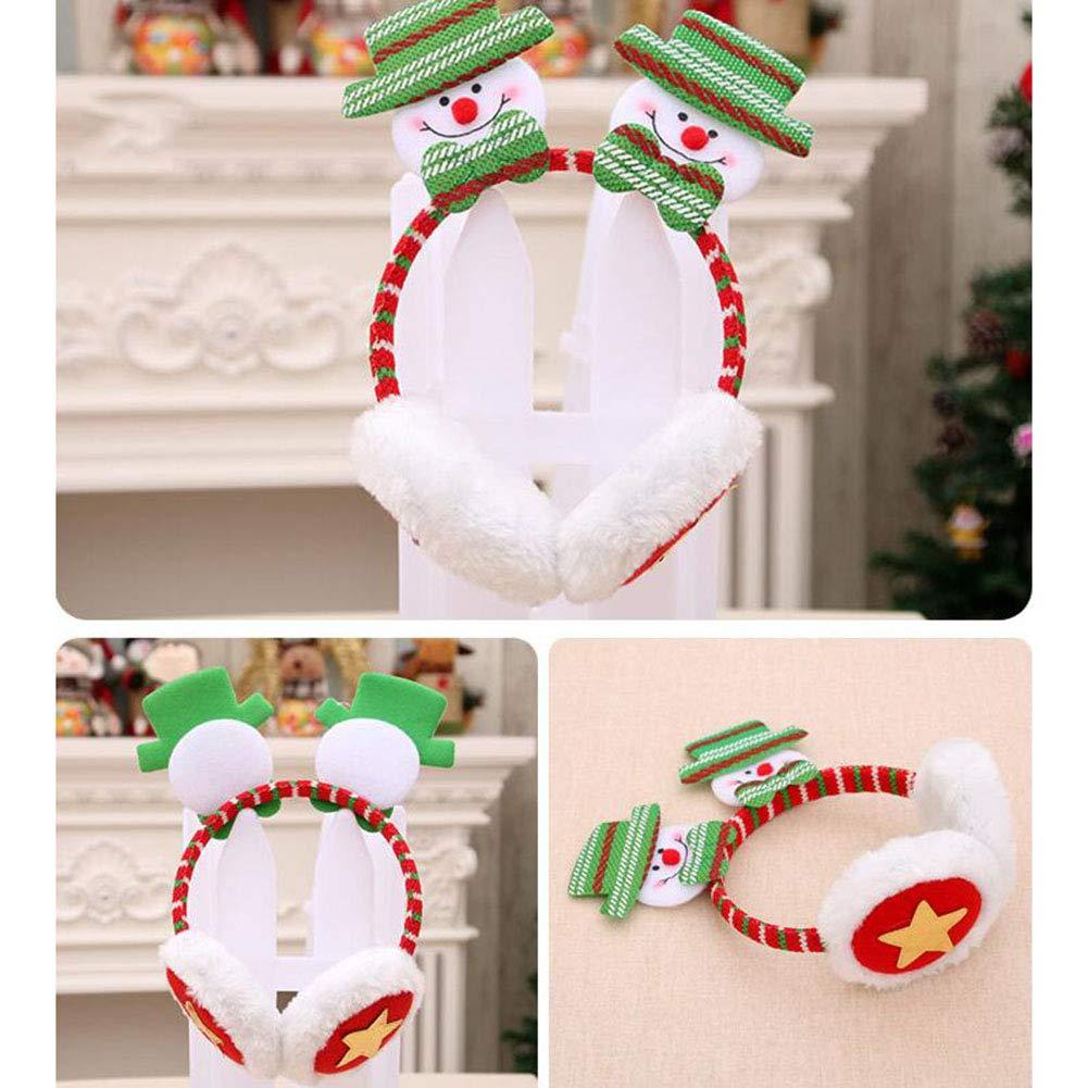 Yiwa Novelty Cute Christmas Earmuffs Head Hoop Cute Xmas Santa Reindeer Snowman Bear Lovely Plush Headband for Adults and Children Bear