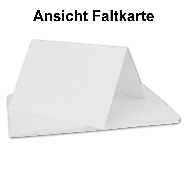 da 10,5/x 14,8/cm set completo di biglietti e buste da lettera 25 Sets inkl Box crema Gustav Neuser/® Set di biglietti pieghevoli in formato DIN orizzontale con goffratura di lino