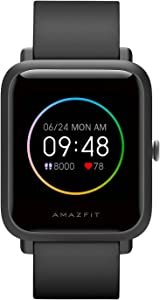 Amazfit Bip S Lite Smartwatch Fitness Watch with Heart Rate, Sleep Monitor, Sports Watch with 14 Sports Modes, 5 ATM Waterproof, Music Control, 30 Days of Battery Life (Charcoal Black)