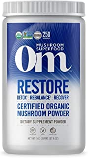 product image for Om Organic Mushroom Nutrition Supplement, Restore: Detox, Recovery, Energy, 250 servings, 1.1lbs, 500 Gram