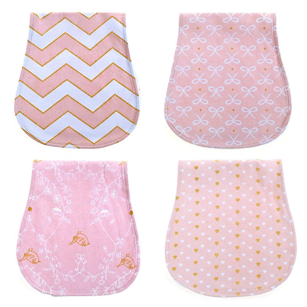 Baby Burp Cloths Set Baby Burp Set 4-Pack Organic Cotton Feeding Nursing Towel Accessory,Burping Rags for Newborns,Curved Absorbent and Soft,Baby Shower Gift for Boys and Girls F033