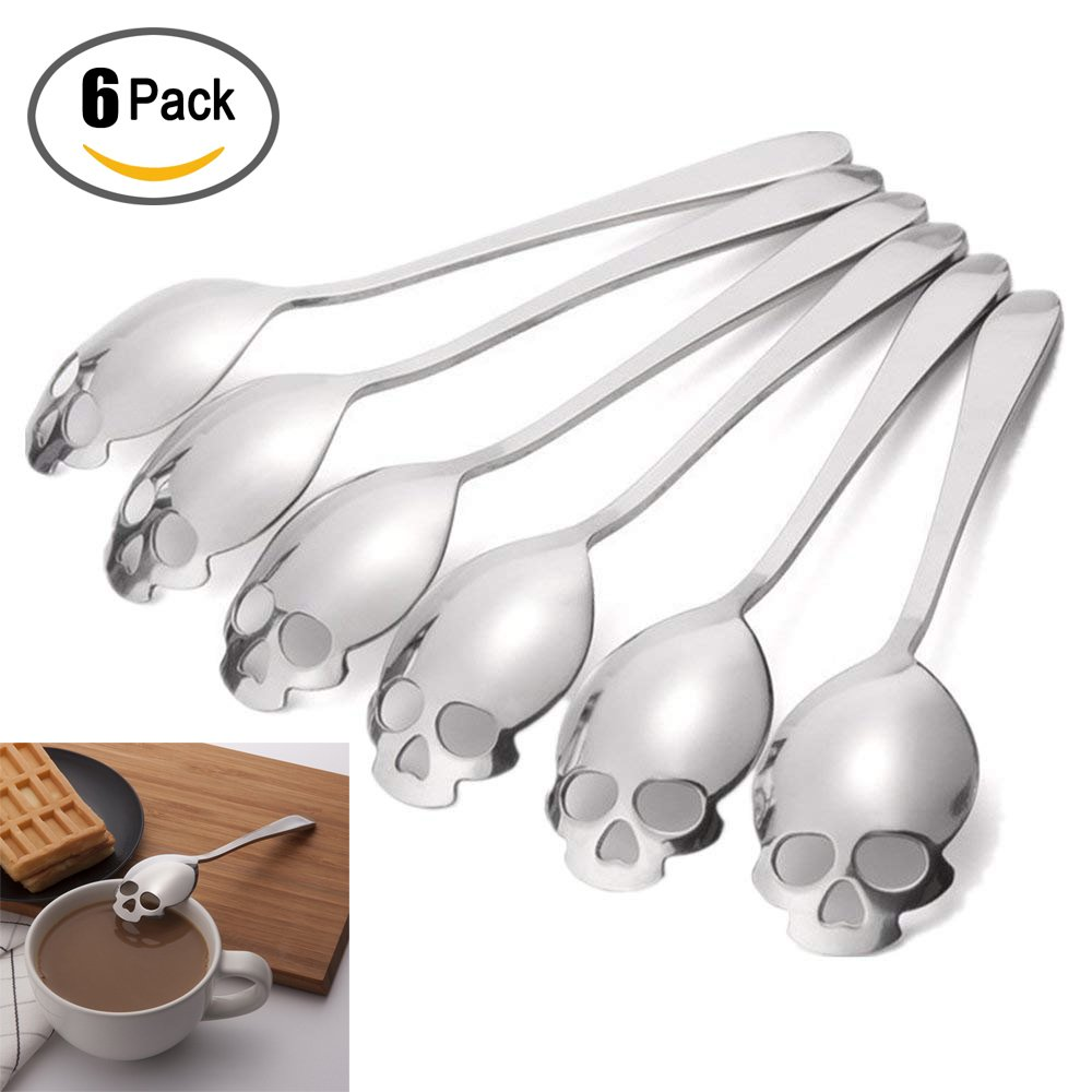 6 Pack Stainless Steel Spoons 304 Sugar Spoon Skull Shape for Coffee and Tea Stirring Spoon Golden Silver by Sweetdecor