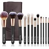 メイクブラシ 化粧筆 12本 化粧ブラシセット超柔らかい 高品質PUレザー化粧ポーチ付き 携帯便利