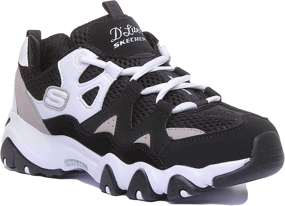 Womens Skechers D�Lites Top Down Extreme Fitness Workout Gym Trainers Black White