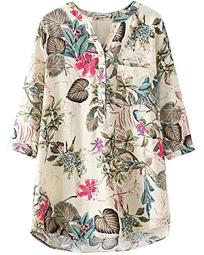 HOOBEE LINEN Women's 3 / 4 Sleeve Floral Printed Button for sale  Delivered anywhere in USA