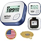 AMBA7 GolfBuddy Voice 2 Golf GPS/Rangefinder (40k+ Preloaded Worldwide Courses) Bundle with Magnetic Hat Clip Ball Marker (USA Flag) Voice 2, Green