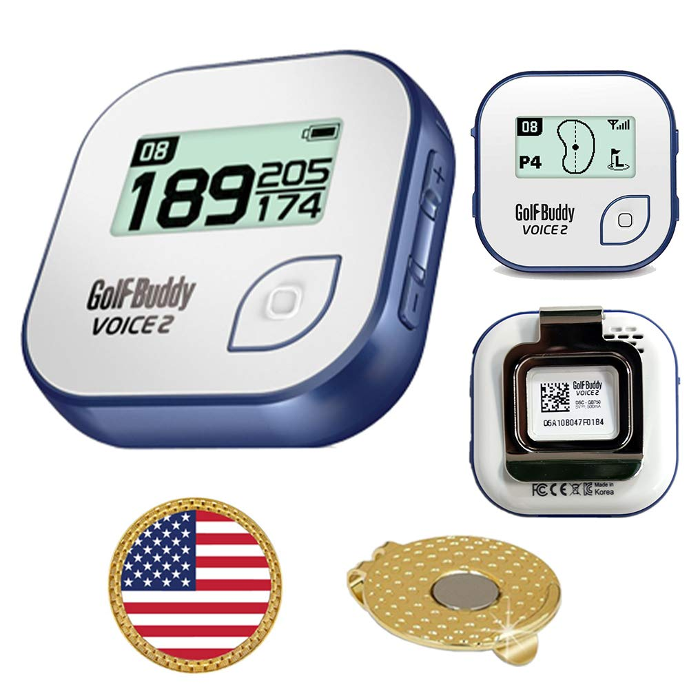 GolfBuddy Voice 2 Golf GPS/Rangefinder Bundle with Ball Marker and Magnetic Hat Clip (USA Flag) by AMBA7