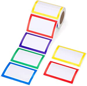 """Mionno 5 Colors Adhesive Name Tag Labels, 250pc 3.5"""" x2.25"""" Plain Name Tag Stickers/Category Tags for Office, Meeting, Kindergarten, School, Teachers, Parties, Warehouses and Mailing"""