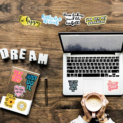 100 Pcs Inspirational Words Stickers for Hydroflasks, Motivational Quote Stickers for Teens and Adults Trendy Vinyl Positive Sticker for Water Bottles Book Laptop
