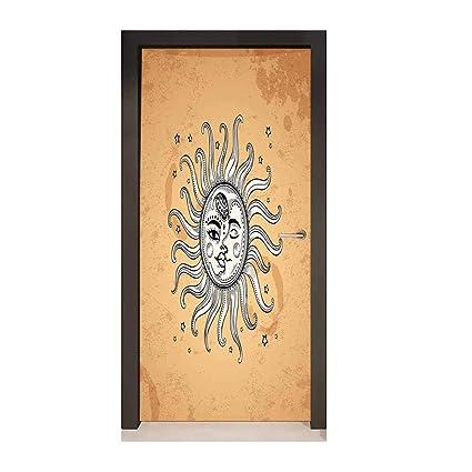 Sun 3d Door Wallpaper Heavenly Bodies With Faces Oriental