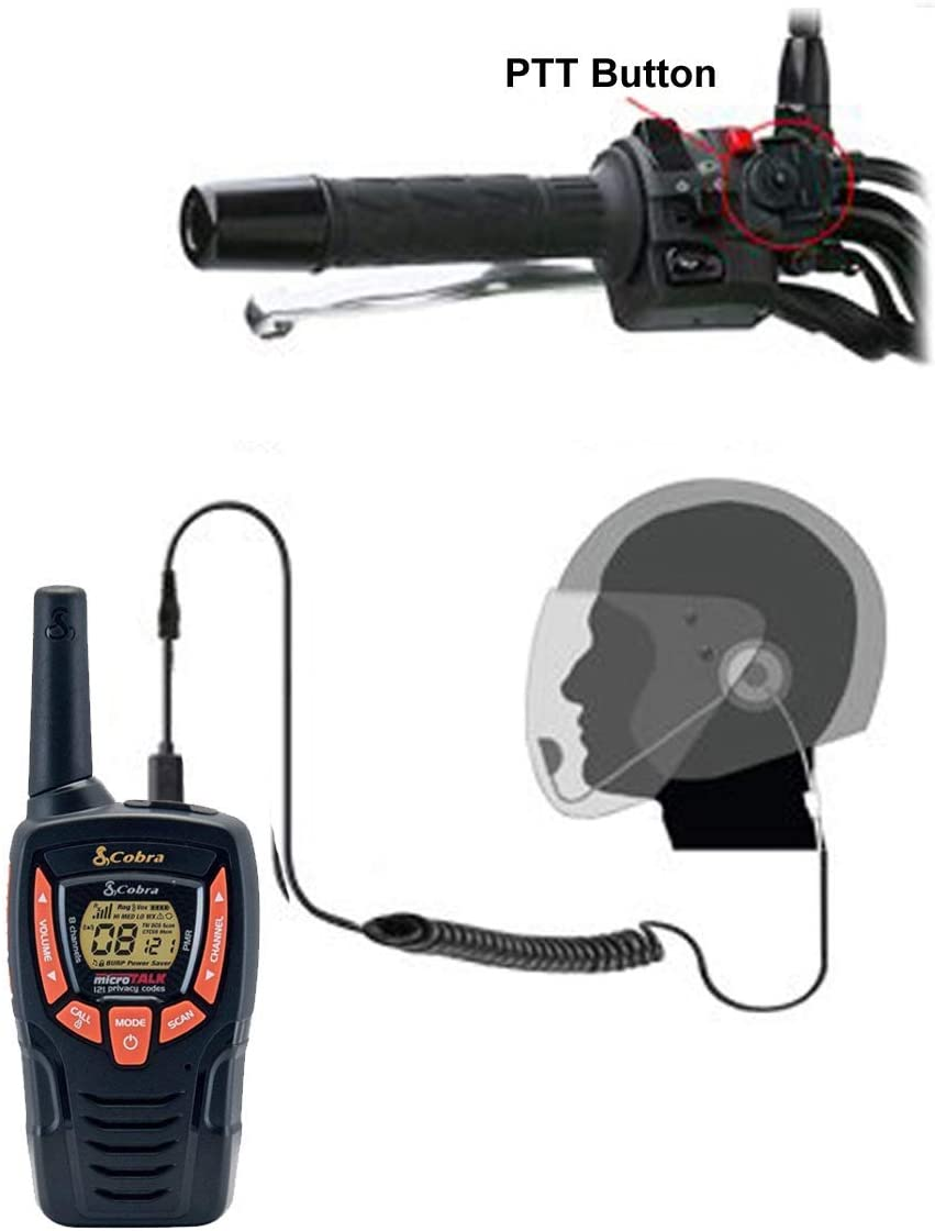 Pama HM-100 PTT//VOX Open Face Motorbike Motorcycle Intercom Headset Comtech CM-45VX VOX adaptor for Cobra 2 Two Way Radios