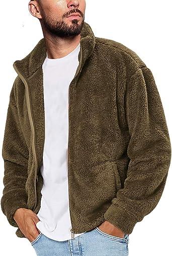 LeaLac Mens Winter Casual Faux Hoodie Fuzzy Sherpa Zip Up Fleece Jacket Open Front Warm Cardigans Coat with Pockets